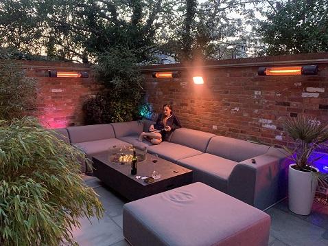 Terraza londinense calentada por calentadores de pared California